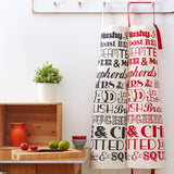 British Dinner Apron printed with vintage inspired typography to list some of the best known and loved English meals.