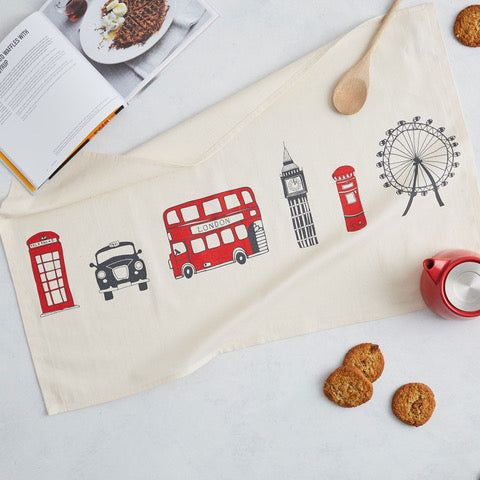 100% unbleached cotton tea towel beautifully illustrated with iconic London images such as a black cab, red London bus, Big Ben and the London eye