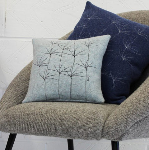 Wildflower Stitched Square Cushions - Janie Knitted Textiles