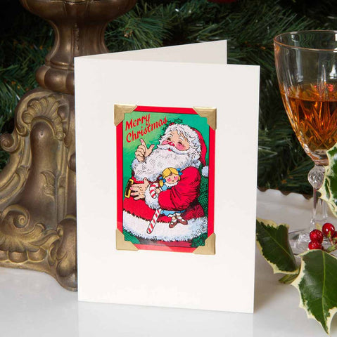 Christmas card made from an original vintage playing card featuring a retro Father Christmas image