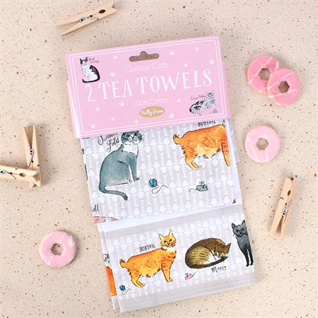 Curious Cats Tea Towel - Milly Green