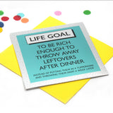 Funky shiny mirror cards listing simple life goals