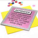 Funky shiny mirror cards listing one of life's reminders