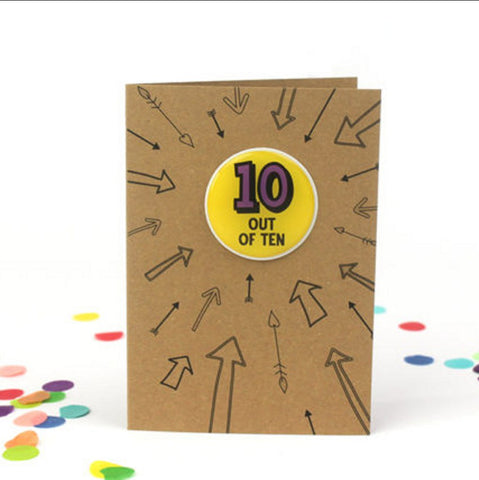 Children's age greeting card with removable sticker, ten out of ten