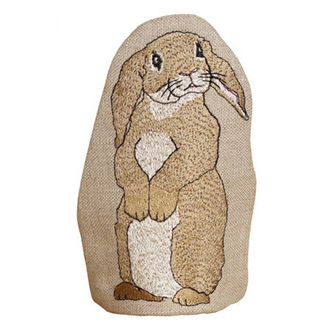 Handmade egg cosy with embroidered rabbit design.  Made from Natural Linen and handmade in the UK. Available to wholesale