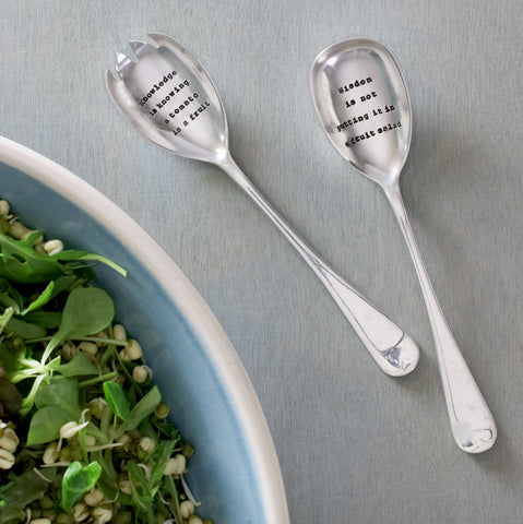 Salad serving spoons hand stamped with a message to make you smile.  Quirky gift
