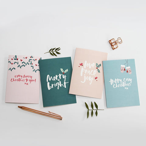 Too Wordy - Contemporary Hand Lettered Christmas Cards