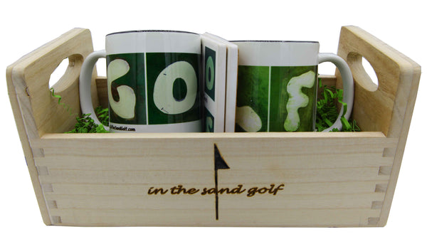 GOLF Gift Set - Wooden Tray 2 Mugs & 2 Coasters