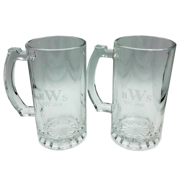 Single Etched Beer Stein