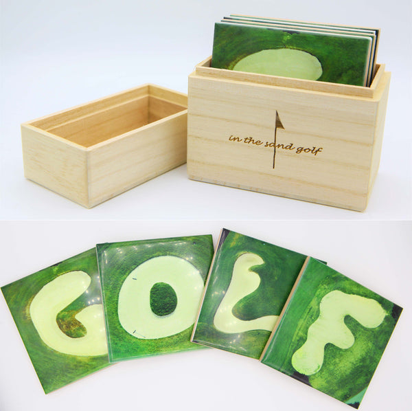 GOLF Sandstone Coaster Set in Wood Box
