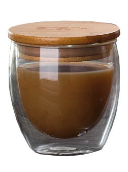 10oz Double Glass Wall Glass With Wooden Lid