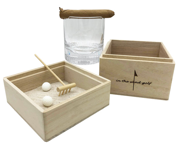 ITS GOLF Zen Garden with Cigar Whiskey Glass
