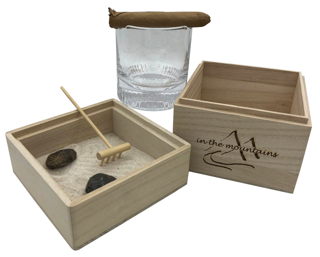 In The Mountains Zen Garden with Cigar Whiskey Glass