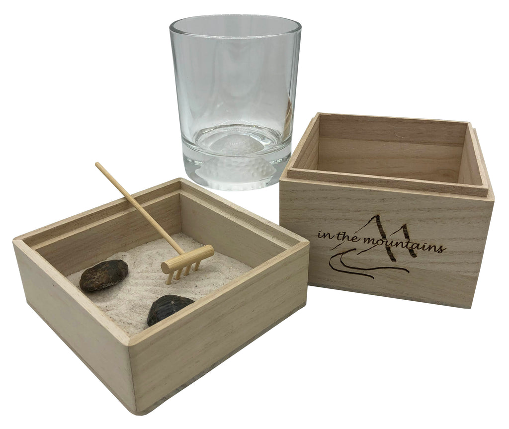 In The Mountains Zen Garden with Golf Ball Whiskey Glass