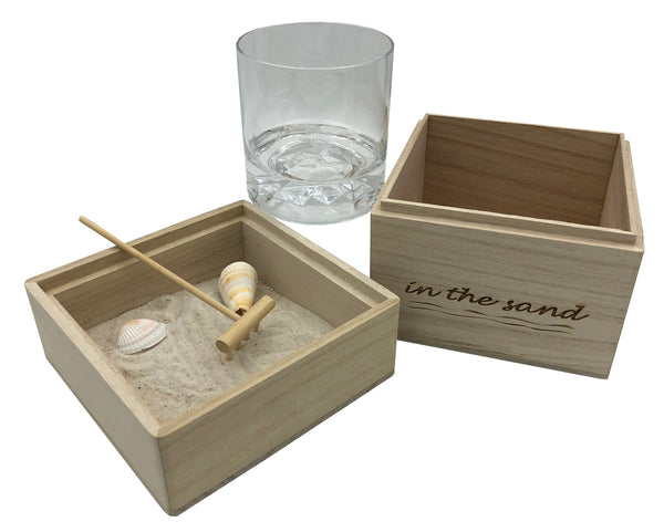 In The Sand Zen Garden with Whiskey Glass
