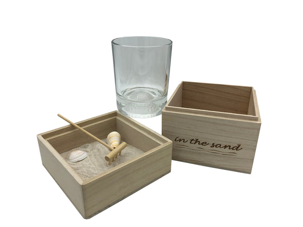 In The Sand Zen Garden with Golf Whiskey Glass