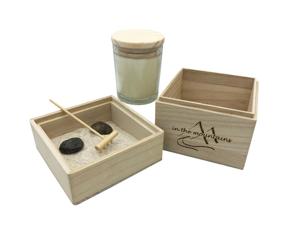 In The Mountains Zen Garden with Scented Candle