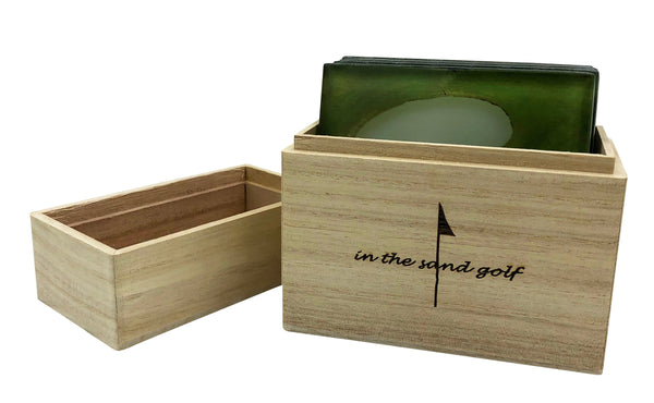 Glass GOLF Coasters in Wood Box