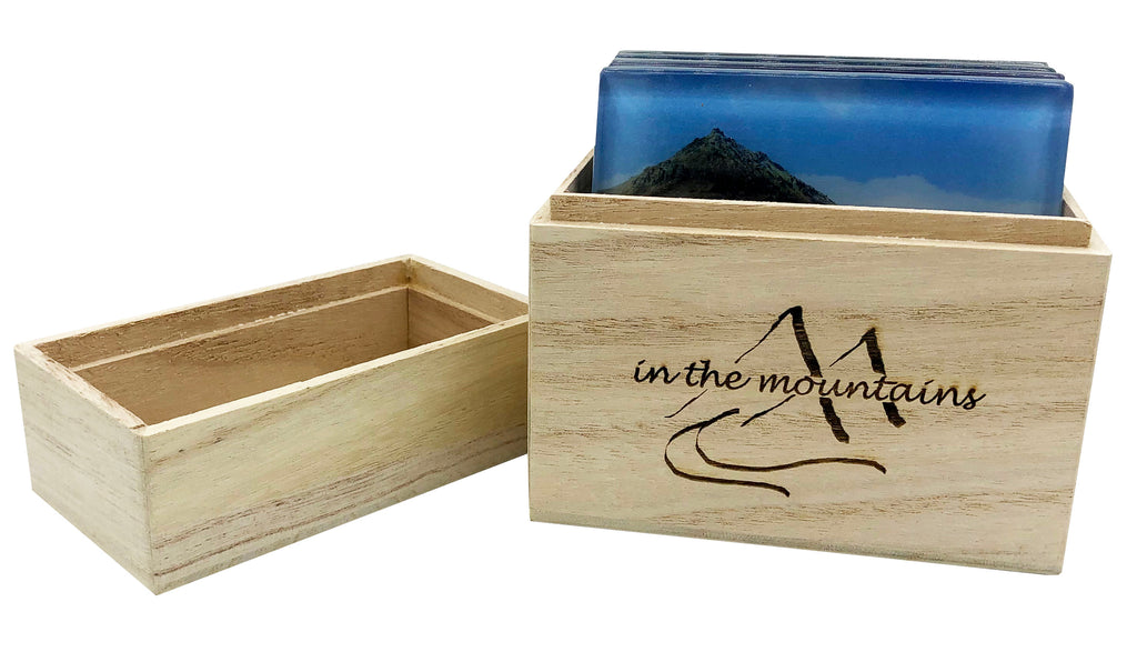 Glass Mountain Coasters in Wood Box