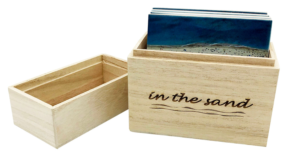 Sandstone Beach Coaster Set in Wood Box