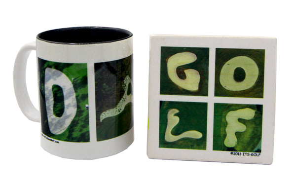 MOM & DAD Golf Mug + 2 Golf Coasters