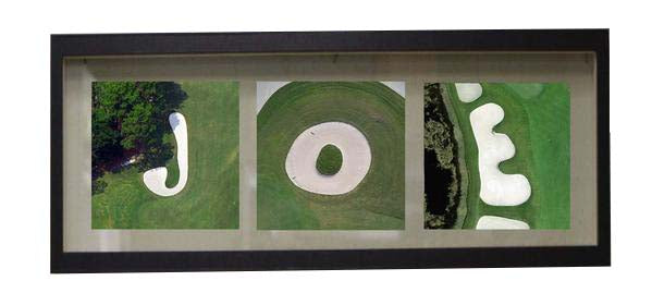 "Personalized Golf Name Frame for Sand Trap Photos 3-4 Letters 7"" x 18"""