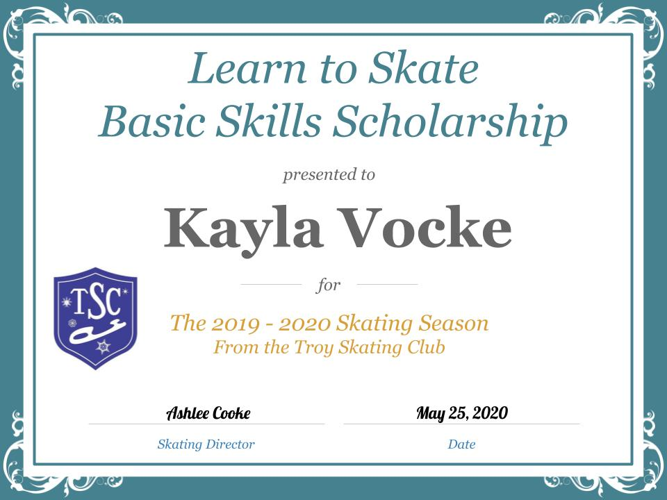 Troy Skating Club's 2019-2020 Learn to Skate Basic Skills Scholarship recipient