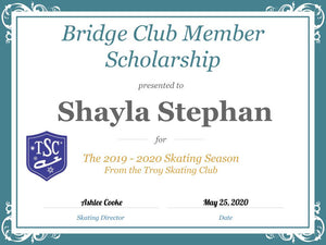 Troy Skating Club's 2019-2020 Bridge Club Member Scholarship recipient