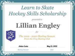 Troy Skating Club's 2019-2020 Learn to Skate Hockey Skills Scholarship recipient
