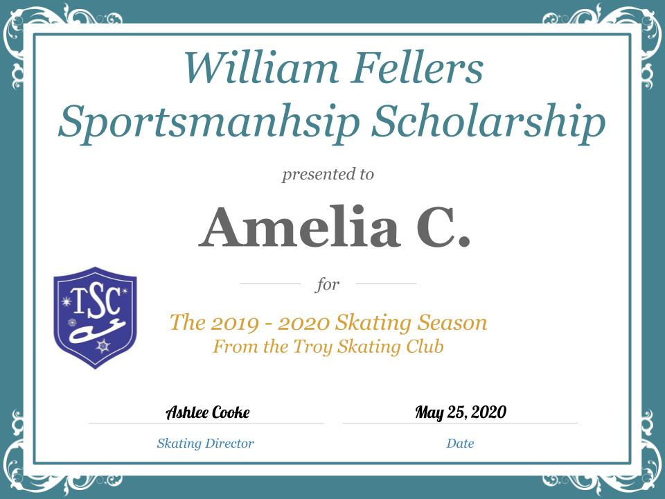Troy Skating Club's 2019-2020 William Fellers Sportsmanship Scholarship recipient