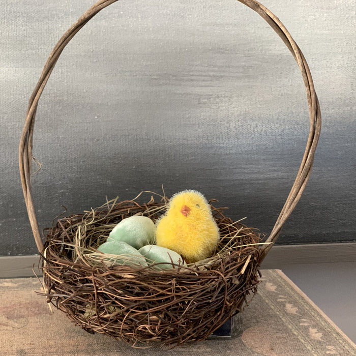 Basket nest with three eggs and a chick