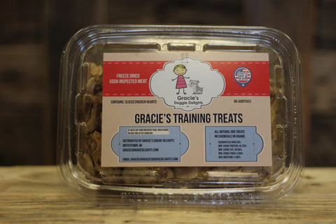 Gracie's Training Treats - freeze dried raw hearts