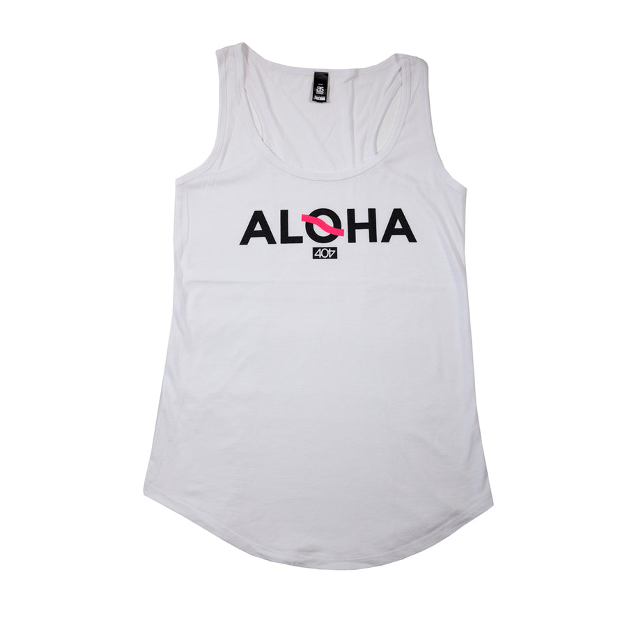 Women's Athletic Aloha Tank White