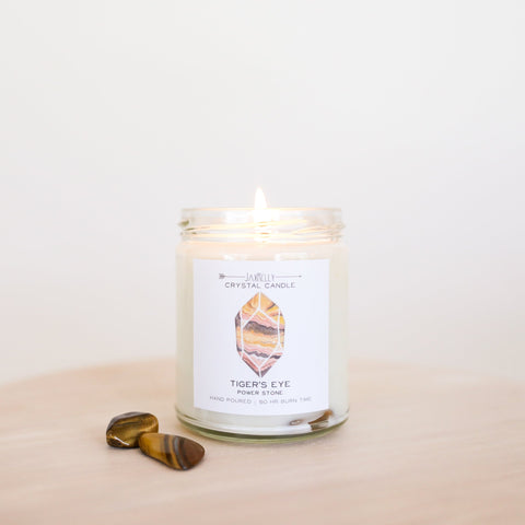 Tigers Eye Crystal Candle - Power