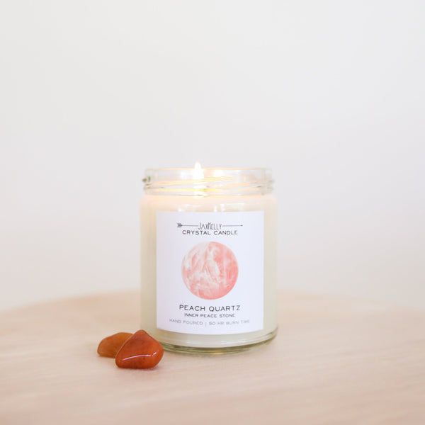 Peach Quartz Crystal Candle - Inner Peace