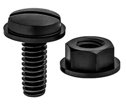 License Plate Screws: Used to attach license plates. Can have either a tapping screw thread or a machine screw thread. Made of either steel (plated) or nylon.