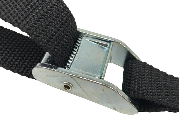 "46"" Black RV Tie Down Strap with Cam Buckle and two Flat J Hooks - Package Quantity - Troyer Products"