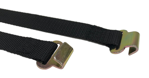 "46"" Black RV Tie Down Strap with Cam Buckle and two Flat J Hooks - Troyer Products"