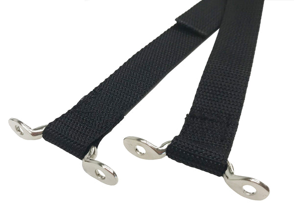 "66"" Black RV Tie Down Strap with Footman Loops and Centered BSR - Troyer Products"
