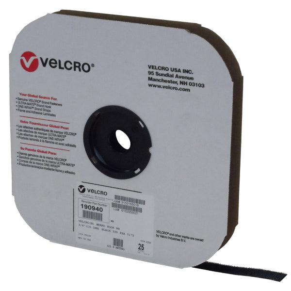 "VELCRO® Brand 190940 Hook 88 3/4"" Black Pressure Sensitive Adhesive 72 - 25 Yard Roll"