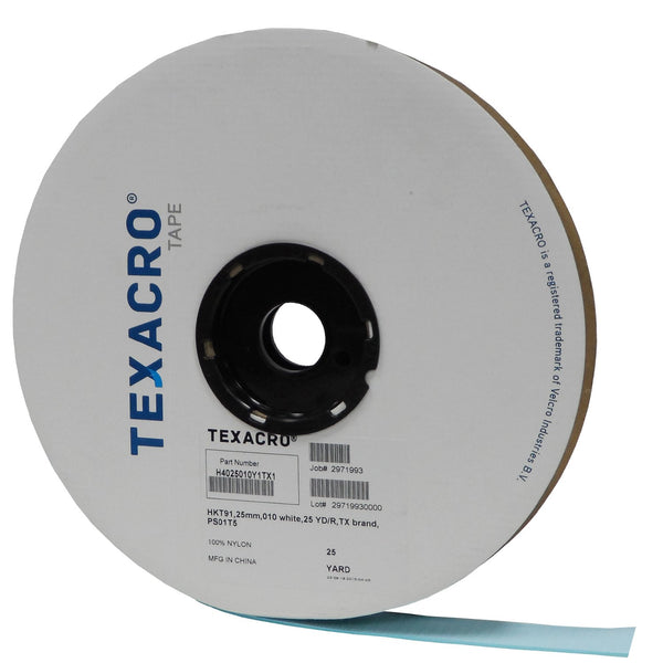 "TEXACRO® Brand Hook 70 1"" White Pressure Sensitive Adhesive 32 - 25 Yard Roll"