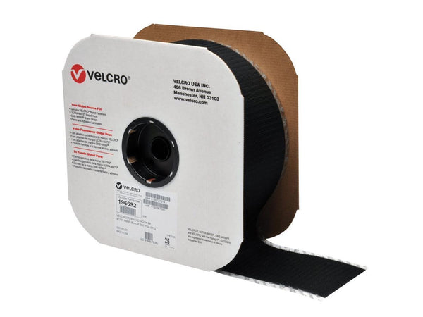 "VELCRO® Brand 196692 Hook 88 4"" Black Pressure Sensitive Adhesive 72 - 25 Yard Roll"