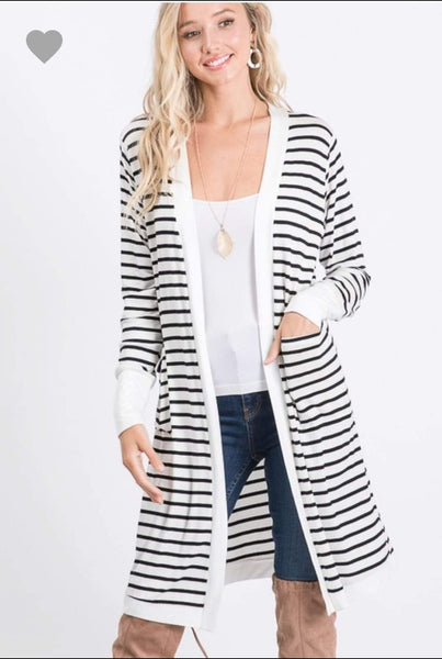 Night on the town striped cardigan