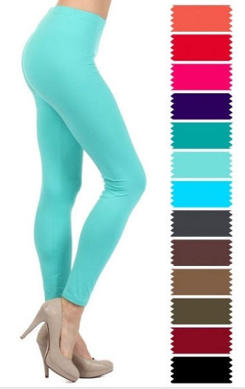 SALE!! Solid Full Length Leggings-Misses