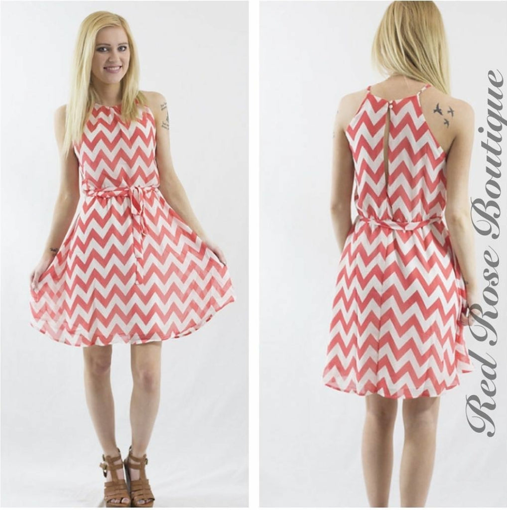 SALE!! Coral Chevron Dress-LAST ONE Size Small