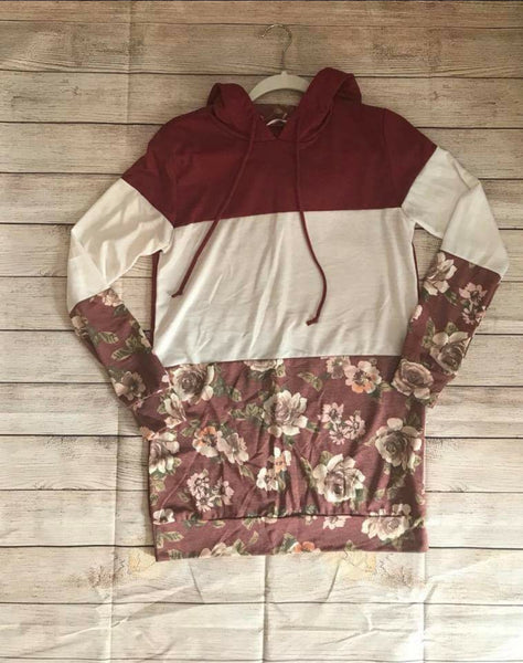 SALE!! Floral Color Block Hoodie- LAST ONE Size Small