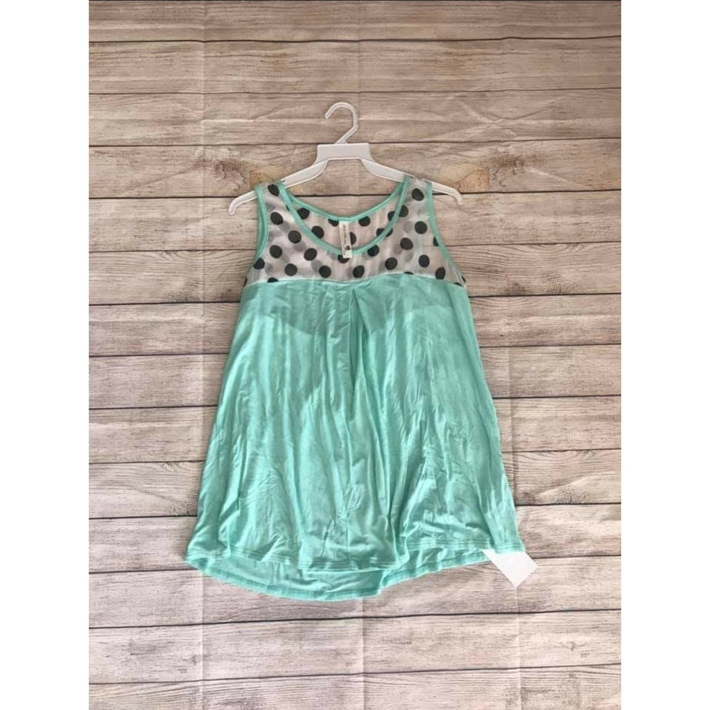 SALE!! Mint Polka Dot Tank- LAST ONE Size Medium