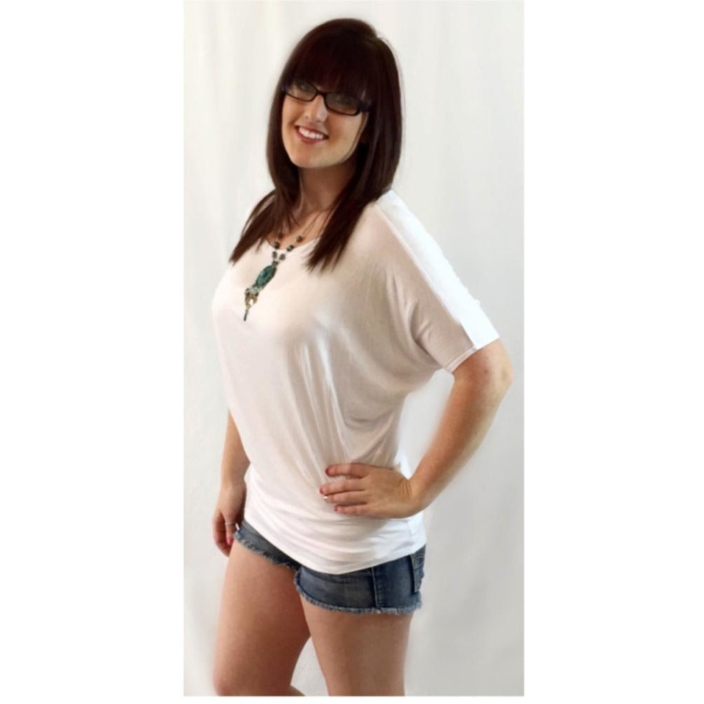 SALE!! White Short Sleeve Dolman Top- LAST ONE Size Small