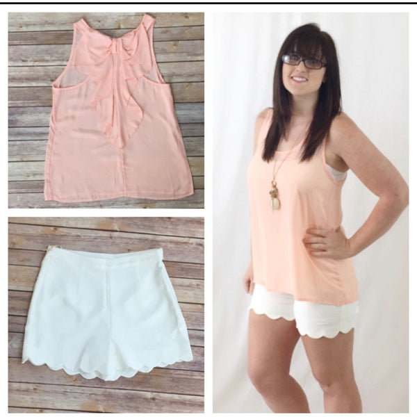 SALE!! High Waisted White soft Scalloped Shorts-LAST ONE Size Large