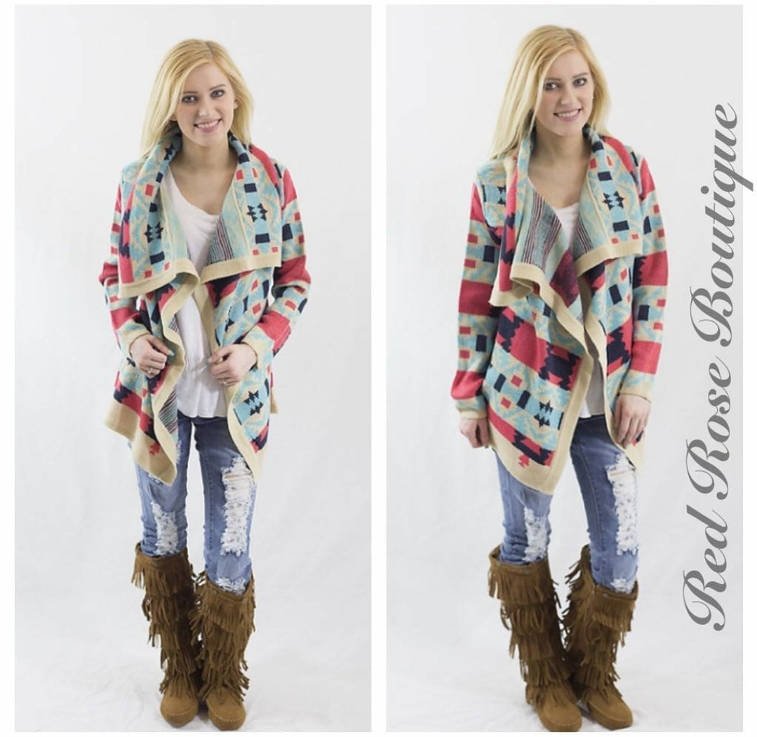SALE!! Coral and Blue Aztec Cardigan-LAST ONE Size Small